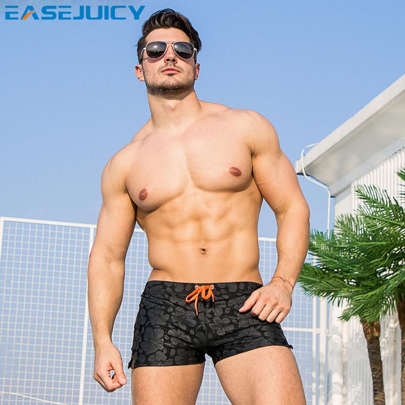 Easejuicy swimwear men's flat corner print fashion tight men's swimwear shorts lace up sexy low waist