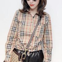 薄款时尚复古撞色格子欧洲zhan2020夏季港味衬衫女韩版宽松内搭潮