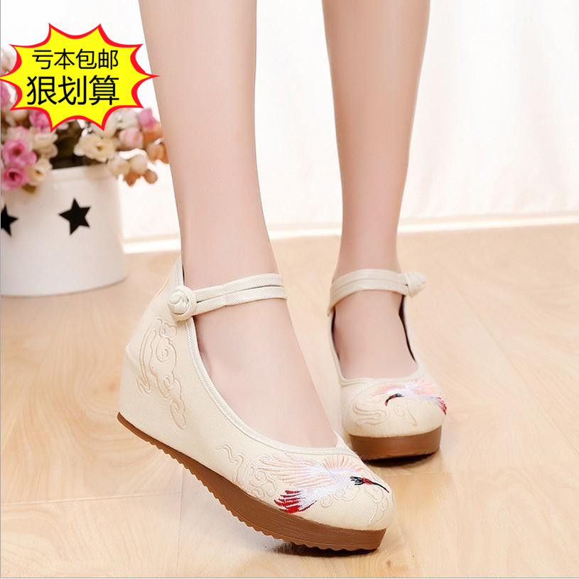 Old Beijing Womens cloth shoes with heavy soles and high heels embroidered shoes
