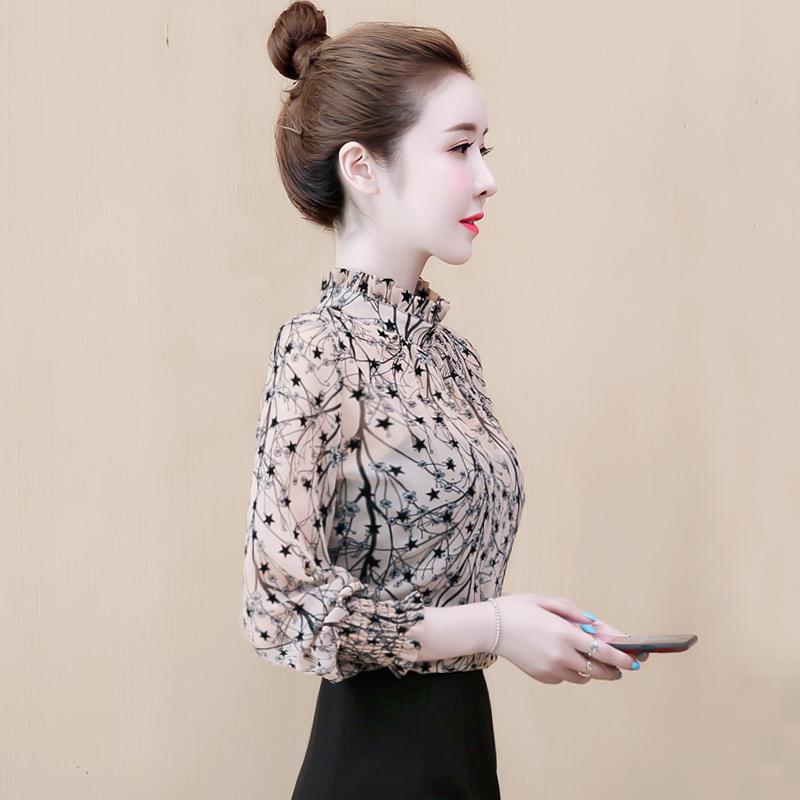 雪纺衬衫春秋季女装2020新款潮流气质洋气百搭长袖上衣气质打底衫
