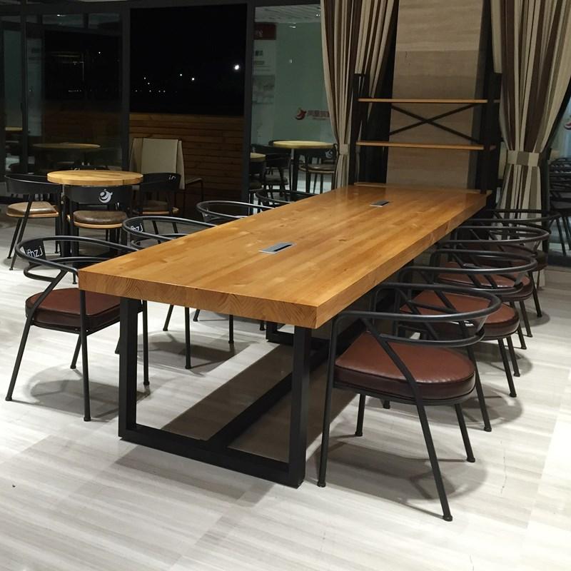 老板台实木开会桌椅长桌写字桌木质工作室饭桌家用书房美式会议桌