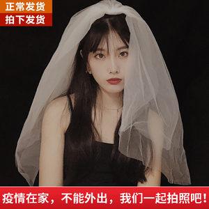 新娘韩式短款双层头纱女网红拍照沙