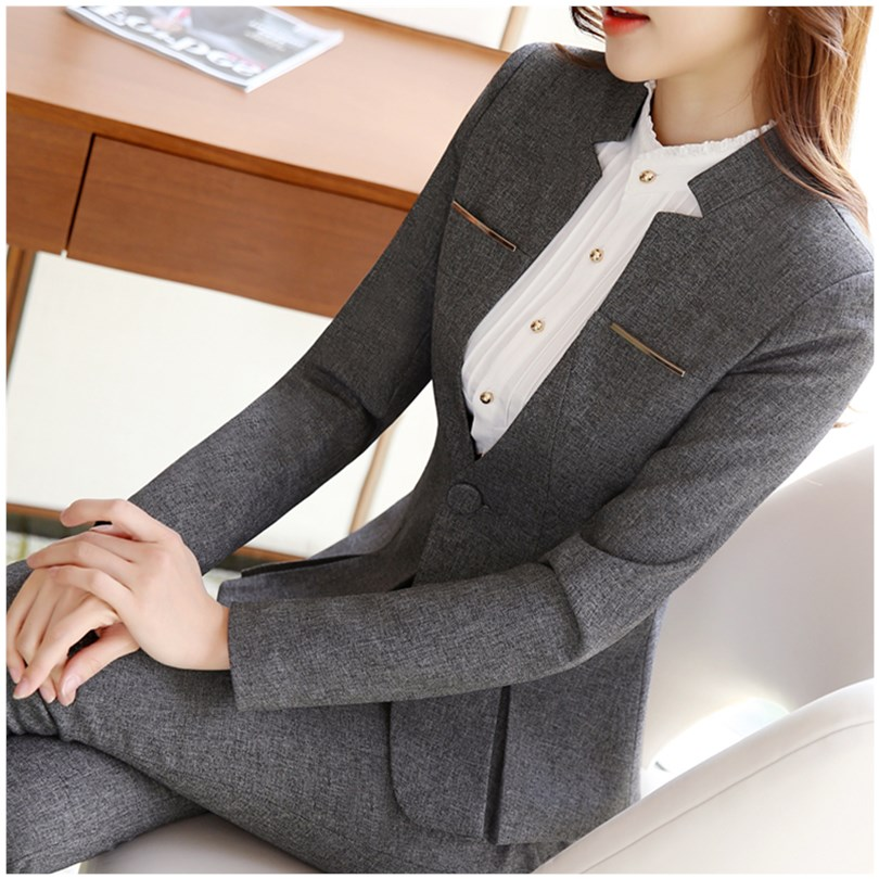 Professional suit womens suit formal work temperament spring and autumn grey jewelry hotel front desk gold shop sales work clothes