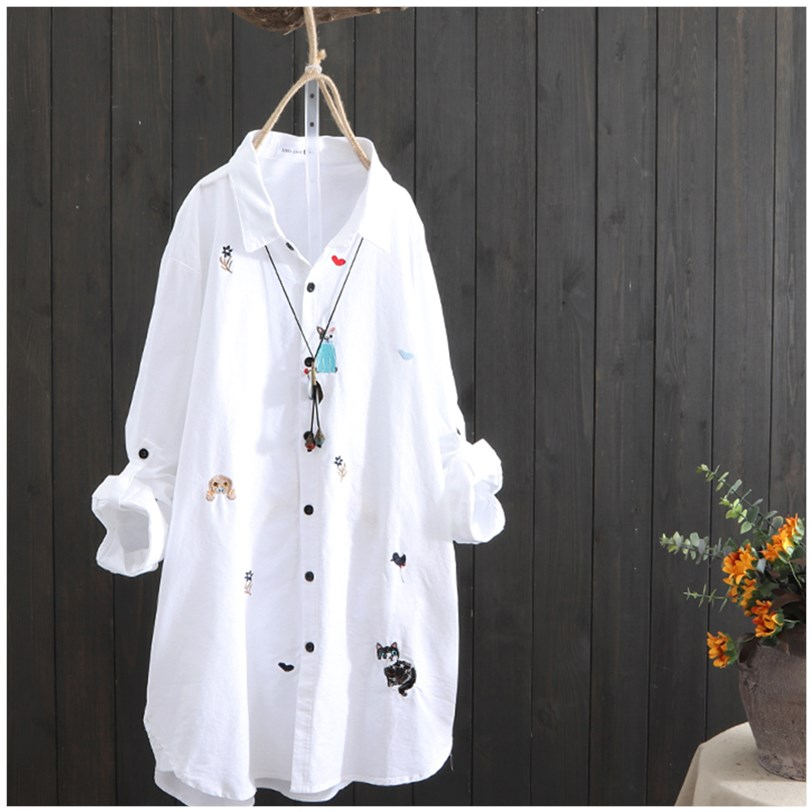 Medium length shirt womens 2019 spring new casual and versatile cardigan can pull sleeve Korean long sleeve embroidered white shirt