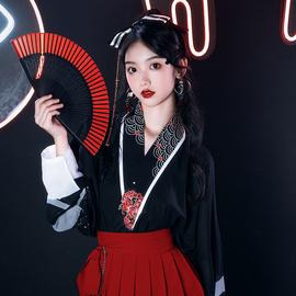池夏:地狱少女 宋制飞机袖中国风汉元素女短裙日常夏装上班穿汉服图片