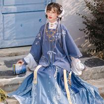 池夏明制短衫百褶裙三件套原创改良立领汉服女全套春日常玉雪香