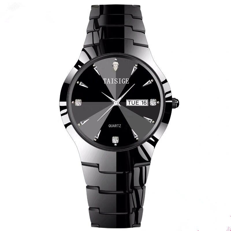 Taishijie genuine tungsten steel watch mens luminous waterproof mens watch quartz diamond inlaid 2 pairs of calendar watch small dial 36