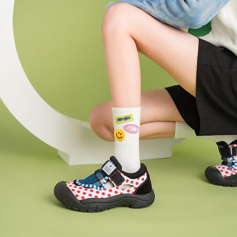 韩国笑脸贴标袜子男女中筒袜春秋荧光色ins潮日系潮流街头运动袜