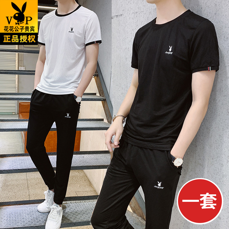 Playboy brand summer sports suit mens short sleeve ice silk T-shirt casual high-end Korean fashion clothing