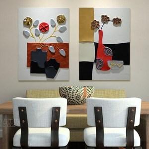 餐厅背景墙壁装饰画饭厅单幅挂画无框画玄关壁画家居装饰品浮雕画