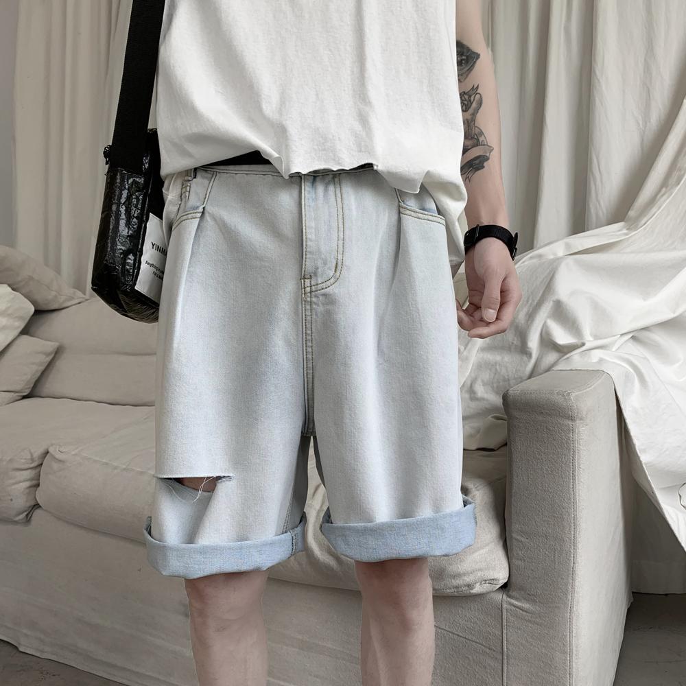 B415-DK98-P35限49 数据好的夏宽松破洞牛仔短裤