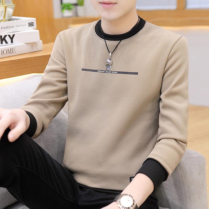 男士长袖t恤春秋新款上衣加绒卫衣潮流韩版体恤打底衫保暖秋衣男图片
