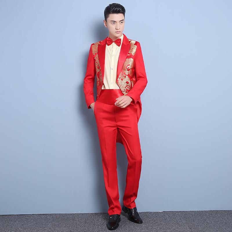 Mens Tuxedo Suit slim Chinese style bridegroom wedding dress summer performance suit host Si Xin
