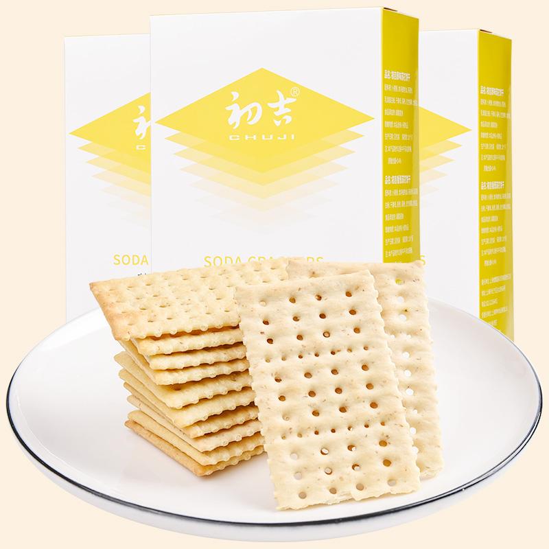 初吉250g三盒装无糖添加低苏打饼干券后59.00元