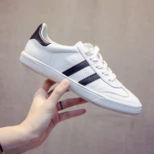 小白鞋女夏季韩版平底百搭系带真皮基础英伦学生鞋板鞋旅游鞋新款