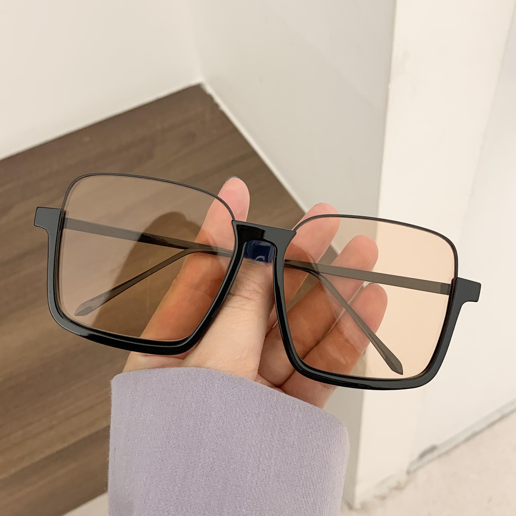 素颜超大框防蓝光复古眼镜ins下半框方形凹造型太阳镜女街拍墨镜