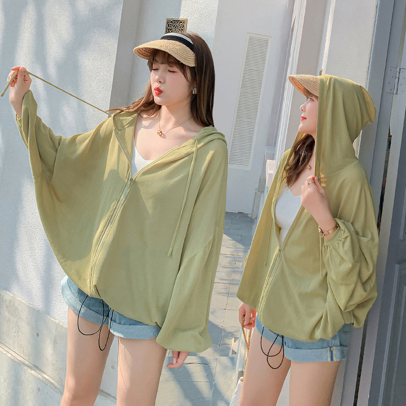 Sun proof T-shirt jacket for women 300 kg spring and summer oversized fat mm lazy loose versatile zipper hooded cardigan