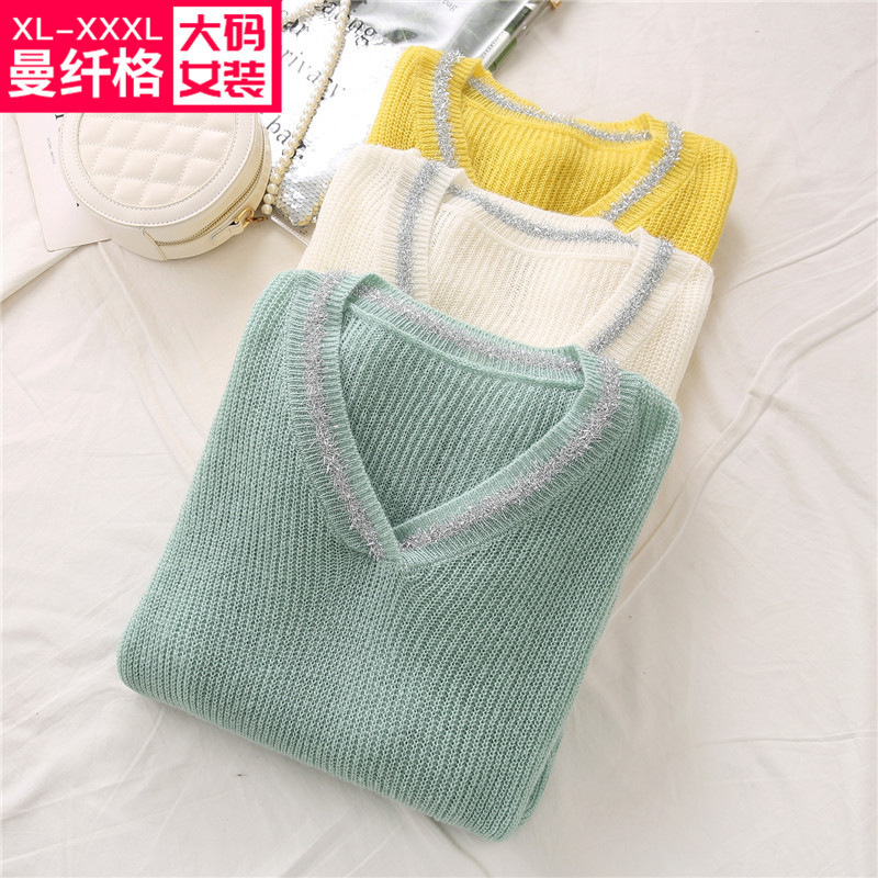 Lazy and loose cover meat show thin 2020 spring 200 kg fat mm extra large V-neck bright thread sweater and sweater