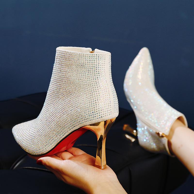 时尚加绒短靴女2020秋冬新款水钻金色伴娘婚鞋高跟鞋女百搭细跟鞋