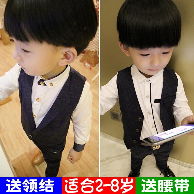2童装男童礼服绅士马甲三件套4儿童小西装套装秋6花童5韩版3潮7岁