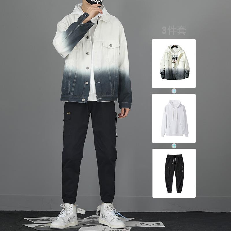 夹克男秋冬季学生套装韩版潮流渐变衣服男装一套搭配帅气牛仔外套图片