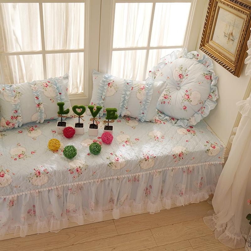 好梦连连 卧室客厅田园蕾丝飘窗垫 窗台垫 榻榻米垫地垫