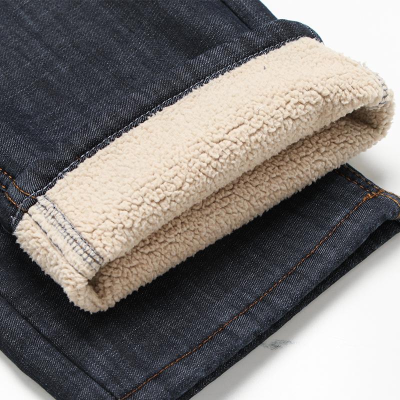 冬季羊羔绒牛仔裤男加绒加厚中年保暖男裤宽松直筒爸爸一体绒长裤