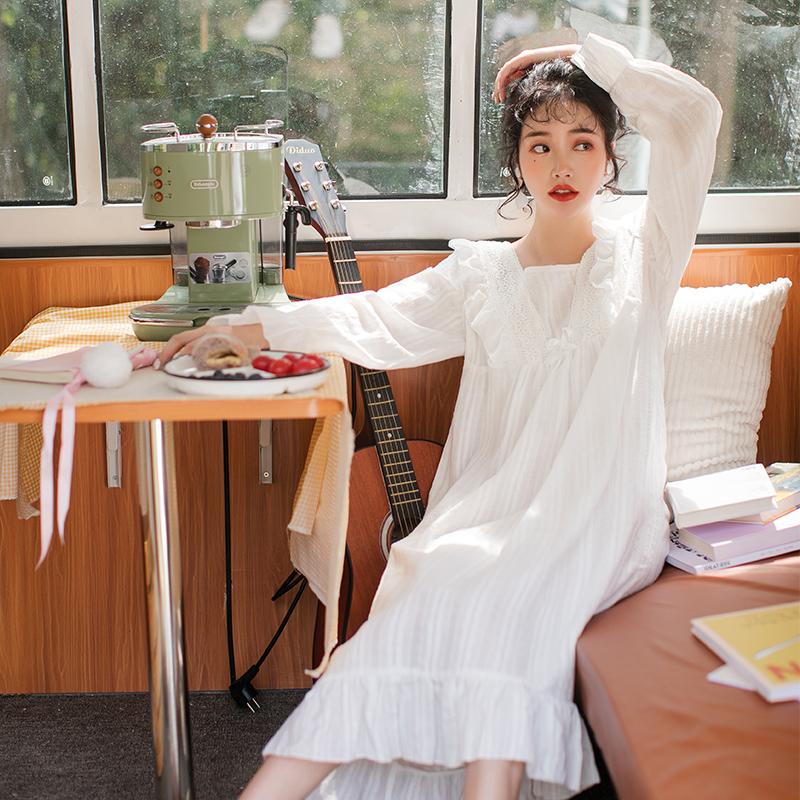 公主风春秋睡裙女超仙长袖长款白色仙女宫廷风纯棉睡衣家居服秋冬