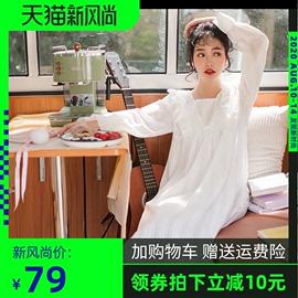 公主风春秋睡裙女超仙长袖长款白色仙女宫廷风纯棉睡衣家居服夏薄图片
