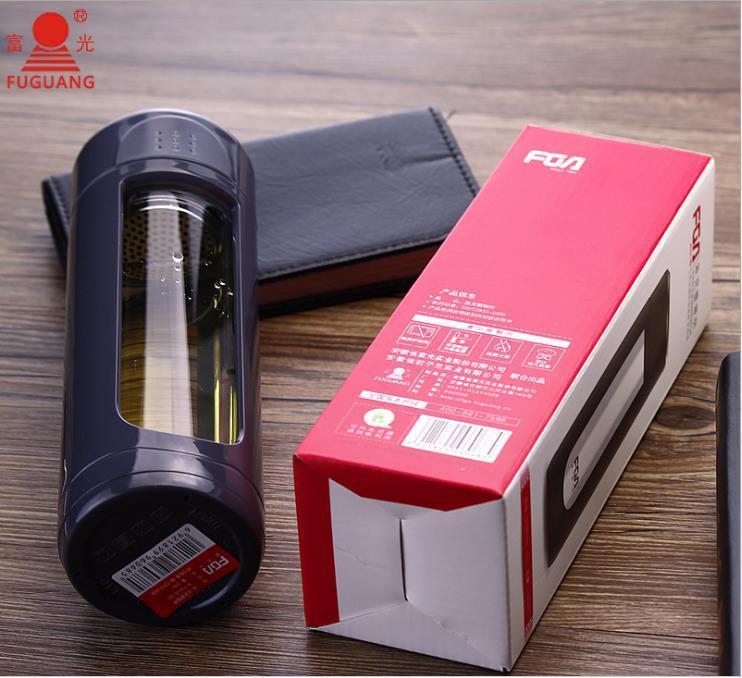富光凯迪凯越派克悠乐莱卡塑玻杯 双层创意玻璃水杯 FS8009-320