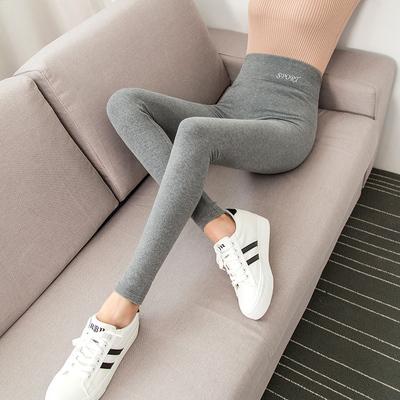 打底裤女外穿春秋季薄款纯棉高腰灰色小脚裤夏季显瘦新款大码裤子