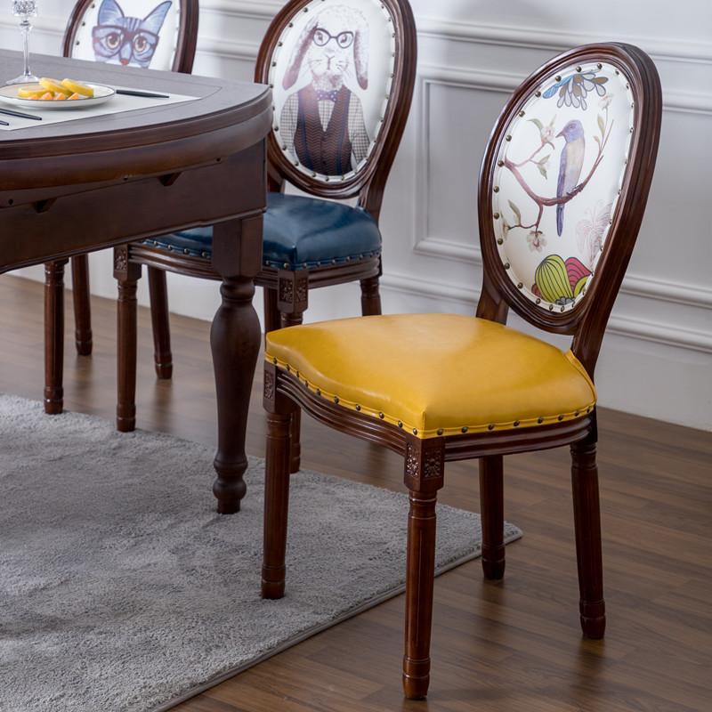 美式实木餐椅 家用复古休闲欧式创意做旧带扶手靠背椅子