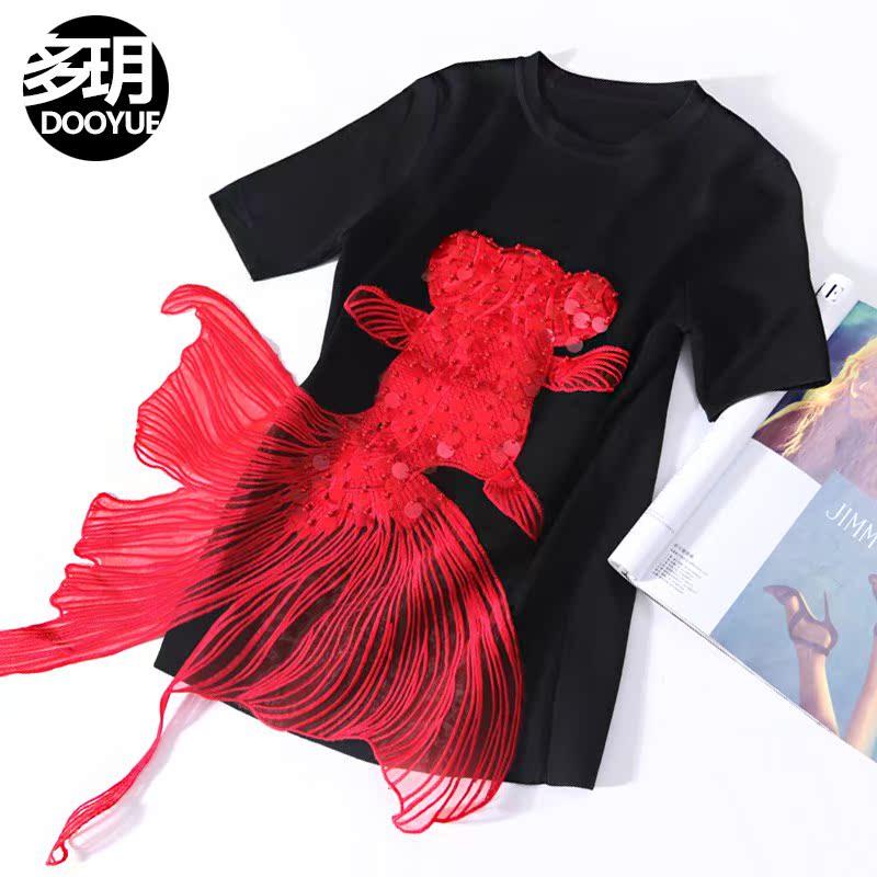 2018时髦锦鲤刺绣针织衫体恤 百搭个性亮片短袖T恤上衣女夏