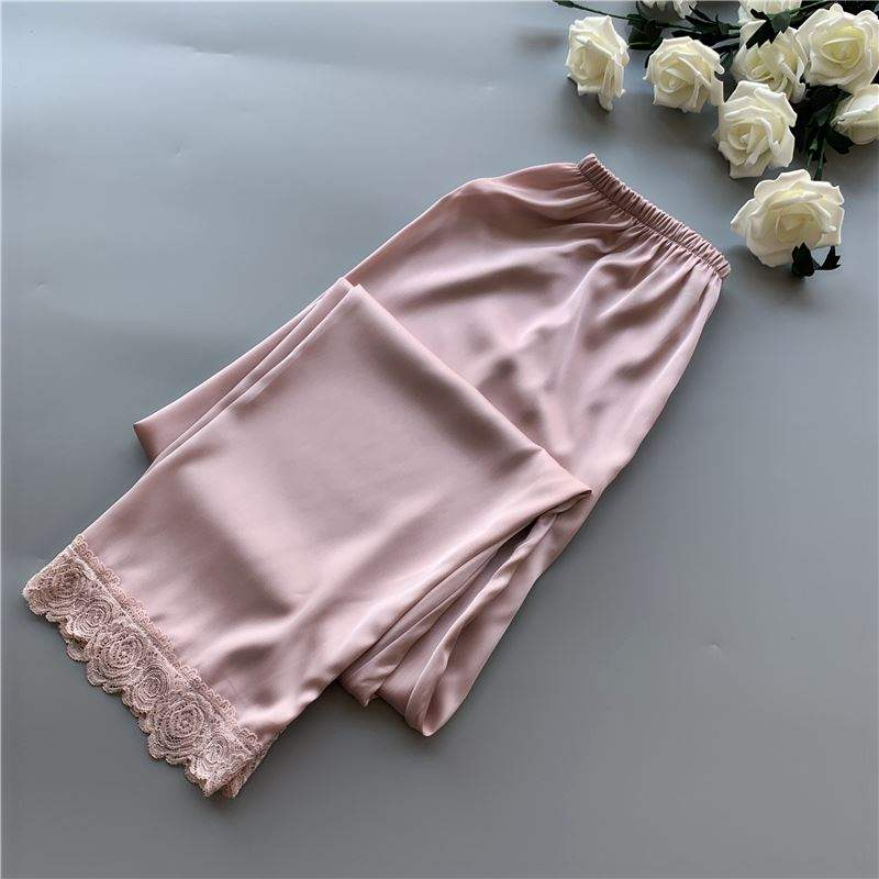 Pajamas women lace thin summer ice silk pants mosquito proof pants home air conditioning pants breathable pants large ice snow silk