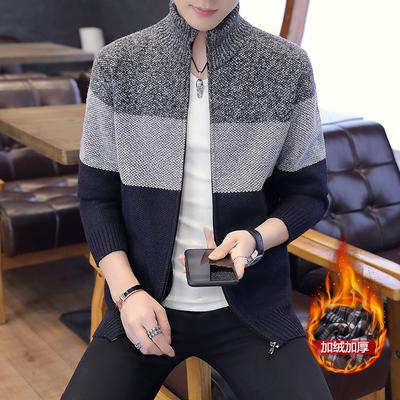针织外套男装男士宽条纹针织开衫加绒拼色外套毛衣夹克保暖亲肤