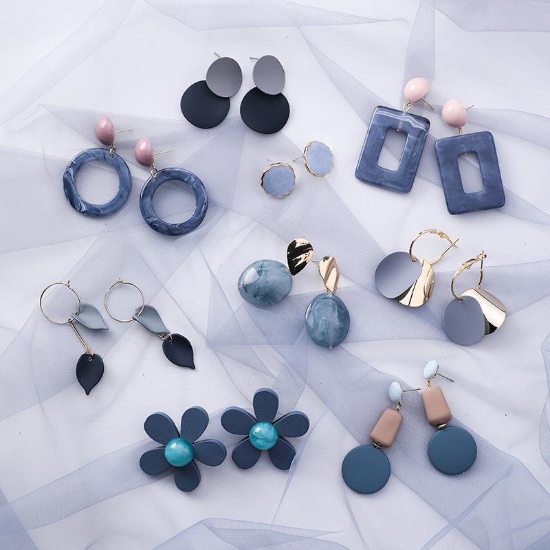 韩版流行蓝灰色系耳环女几何小饰品网红新款个性简约时尚气质耳饰