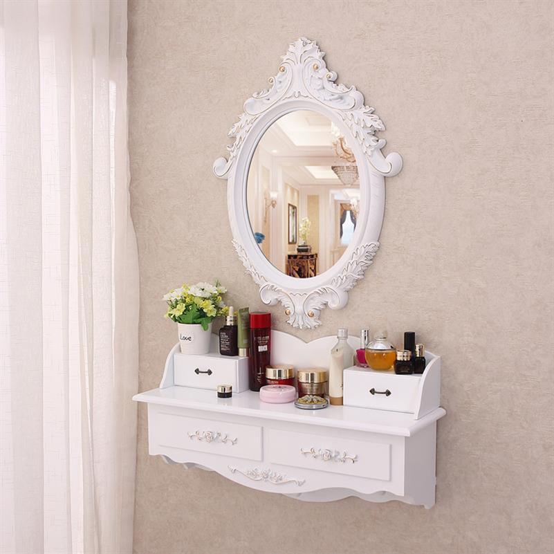 47.22元包邮镜子女孩架子穿衣镜一体韩式桌子梳妆台卧室小户型简易壁挂奢华