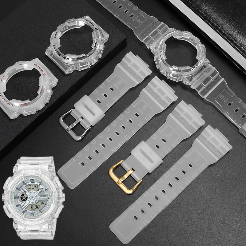 适配卡西欧BA 110 CR 7A 111 120冰韧透明硅胶手表带女baby-G表壳图片