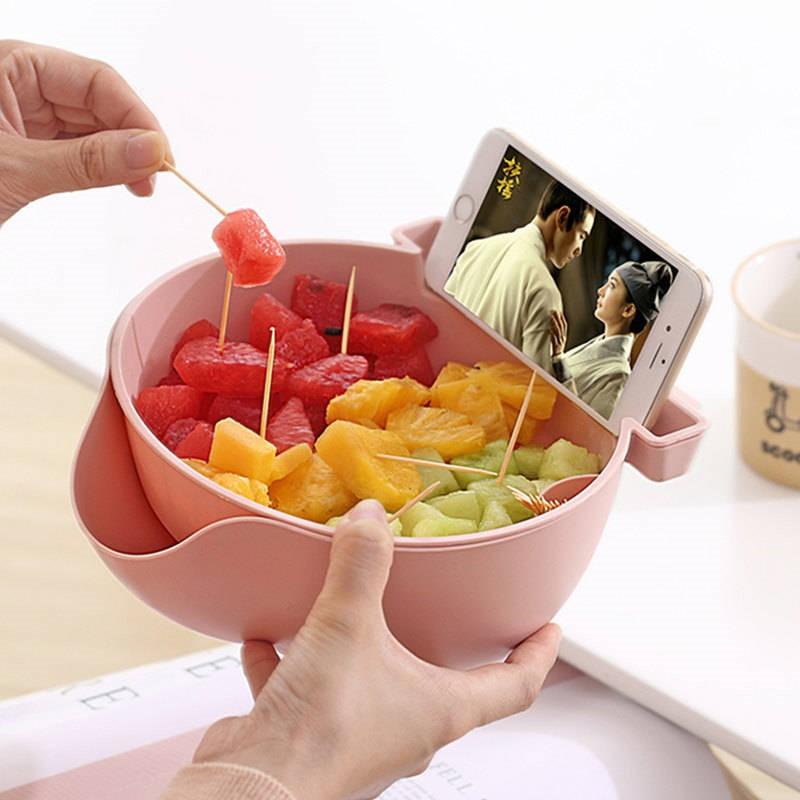 双层创意厨房客厅水果盘沥水篮卡通懒人糖果盘嗑吃瓜子神器果蔬篮