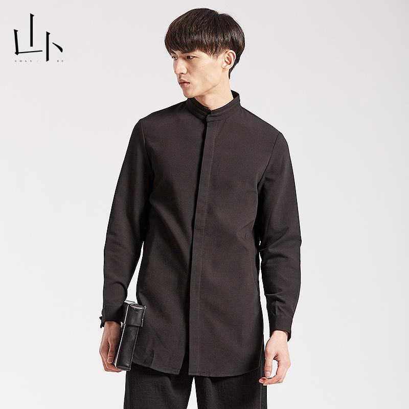 山卜オリジナル文芸長袖シャツメンズ2019春中国式立襟ビジネスカジュアルシャツ純色上着