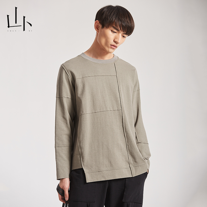 Shanbu long sleeve T-shirt round neck casual mens classic fashion cotton loose top trend spring