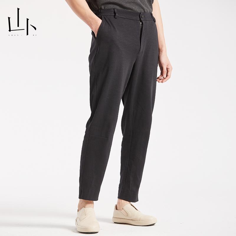 山卜カジュアルパンツメンズオリジナル文芸シンプルスポーツパンツファッション純色ズボンゆったり