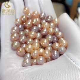奢黛丽天然淡水珍珠散珠称斤裸珠强光散珍珠带孔近圆diy手链项链