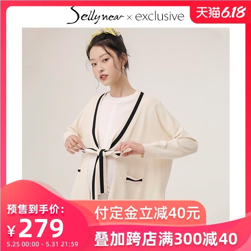 SELLYNEAR 孕妇装针织开衫外套薄甜美可爱系带开衩短款外穿春夏装图片