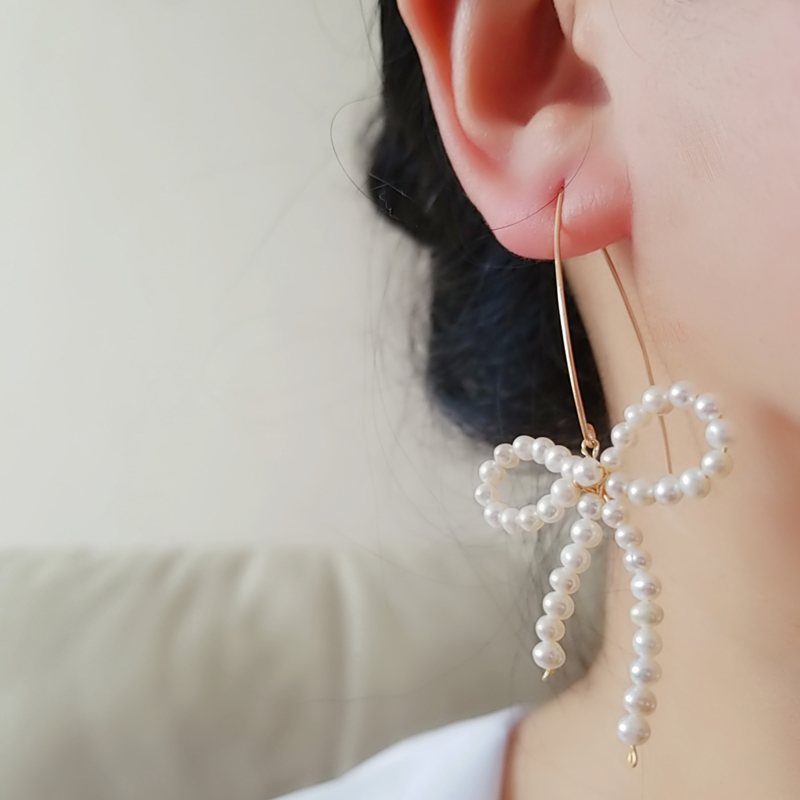Original handmade small number of freshwater pearl earrings female Bow Earrings Korean fashion temperament thin 2020 NEW