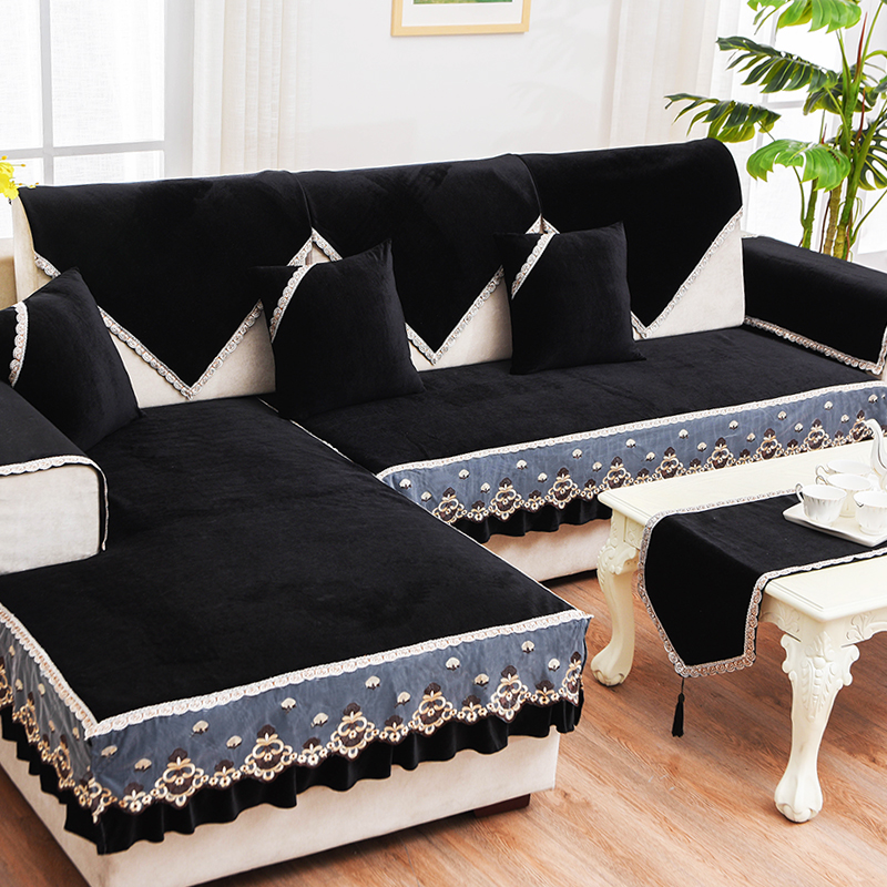 黑色沙发垫布艺四季防滑全包沙发罩限100000张券