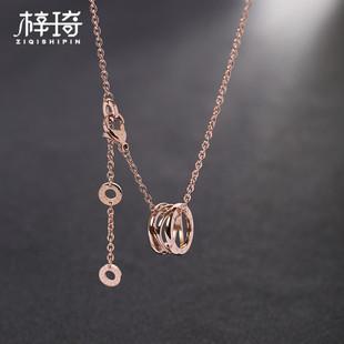 弹簧项链女镀18K玫瑰金彩金锁骨链钛钢毛衣链chic潮网红韩国气质
