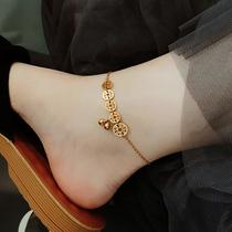 新韩版简约个姓感钛钢脚链女铃铛ins镀18K金森系小众网红潮不掉色