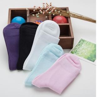 5双韩版纯棉中筒女袜子纯色夏季薄款除臭吸汗可爱学生运动糖果色