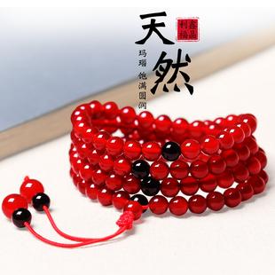 天然红黑玛瑙手链单圈108颗佛珠男女本命年水晶手串多圈手持念珠价格